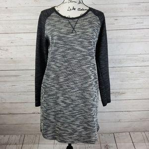 Black & White Knit Long Sleeve Sweater Dress